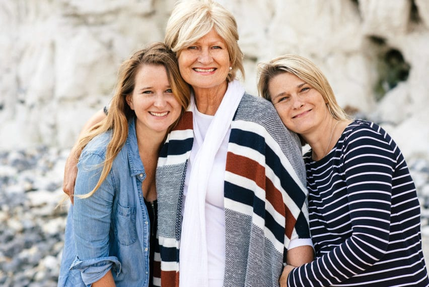 Mother with her two daughters on beach