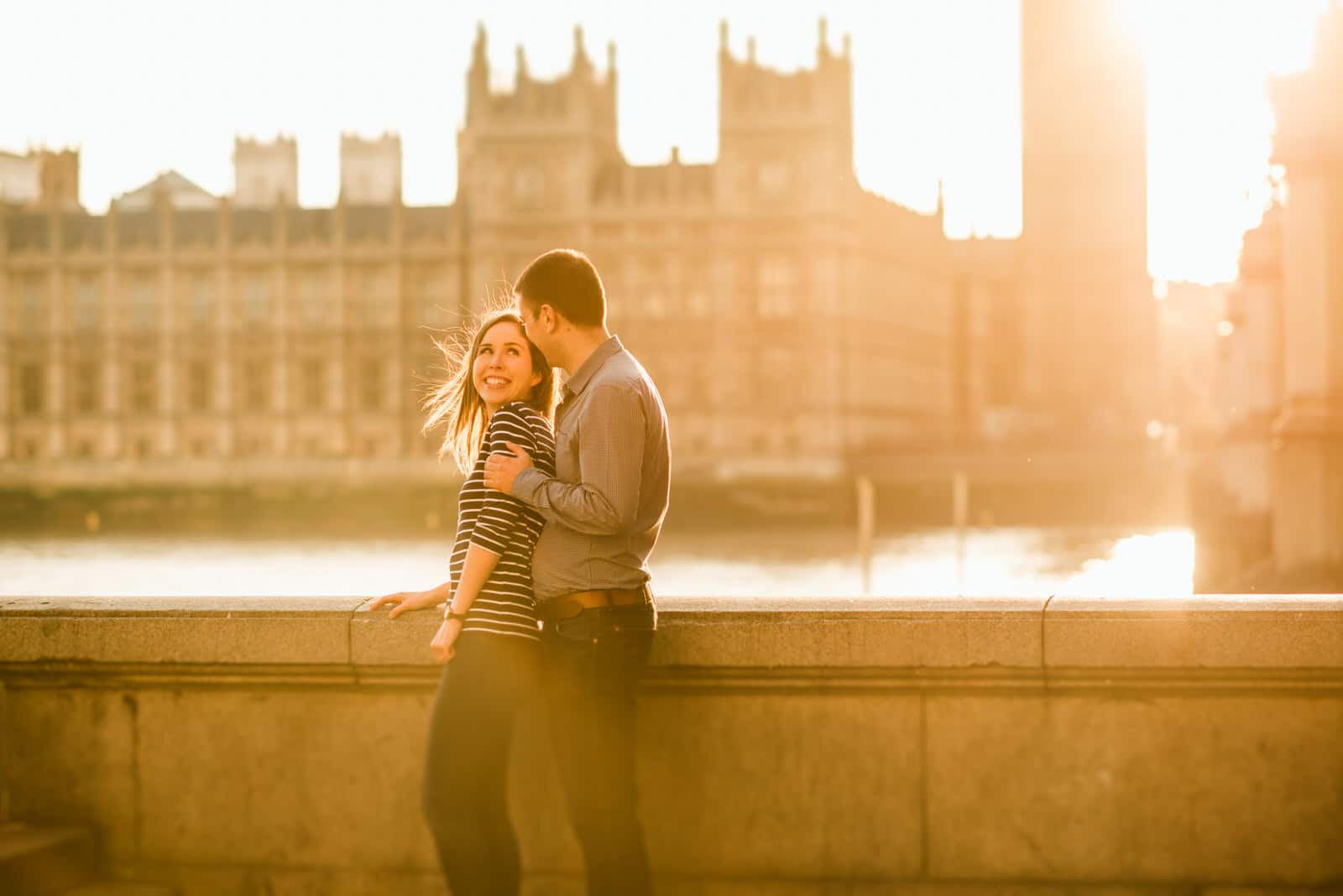 couples portrait shot in front of Westminster