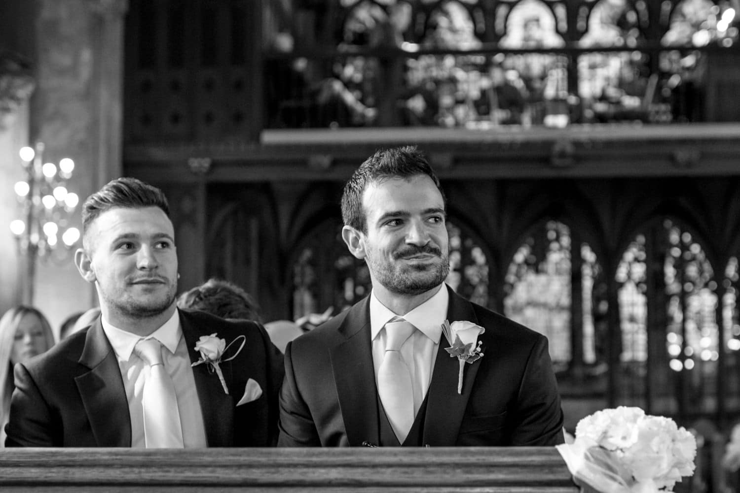 groom waiting at St Etheldredas church