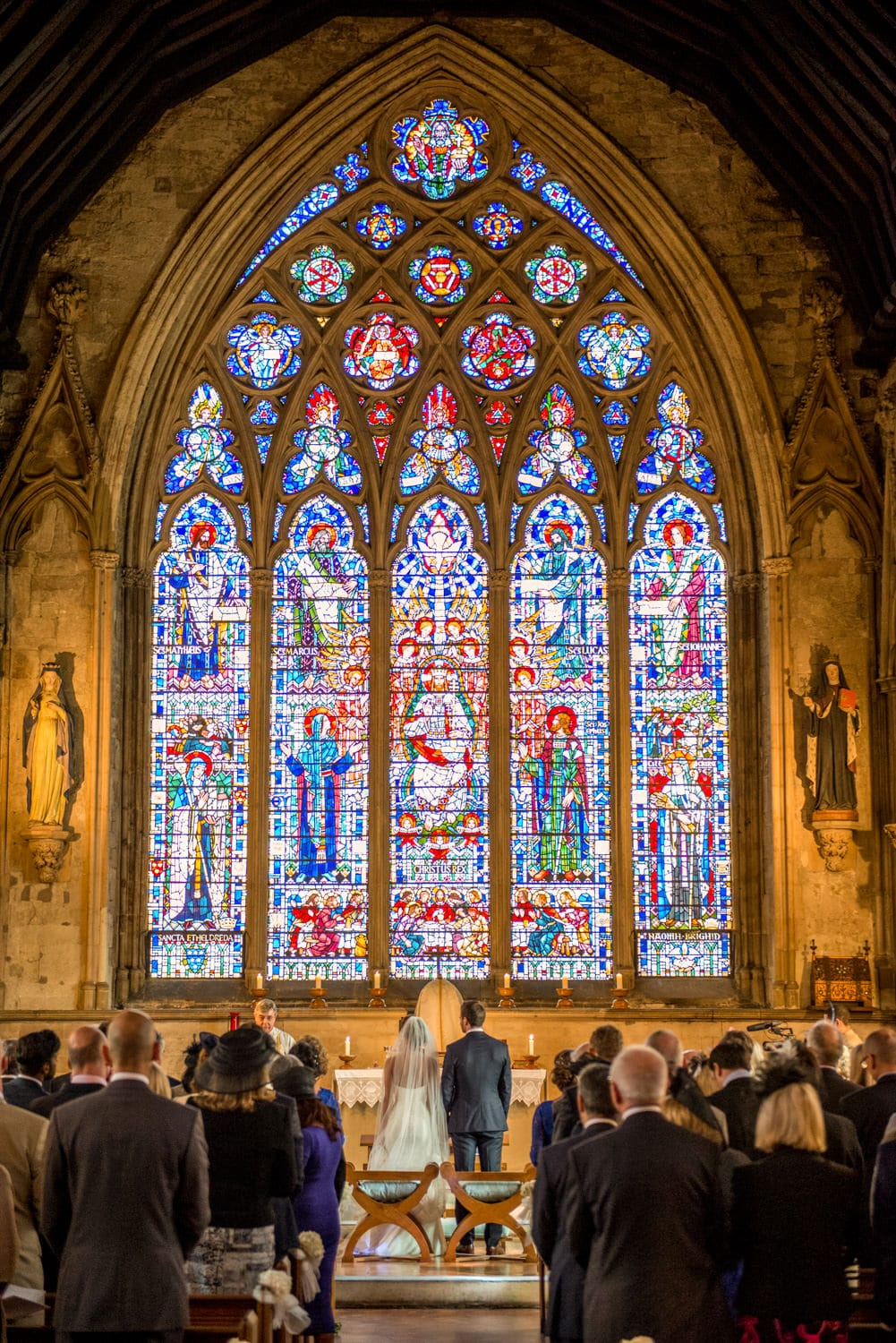 wedding ceremony at St Etheldredas church