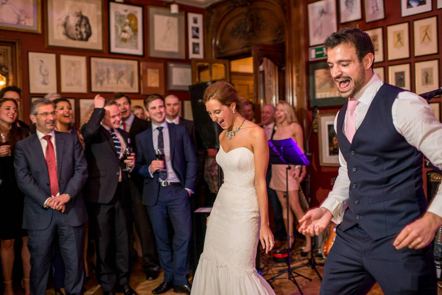 bride and groom dancing at The savile club wedding