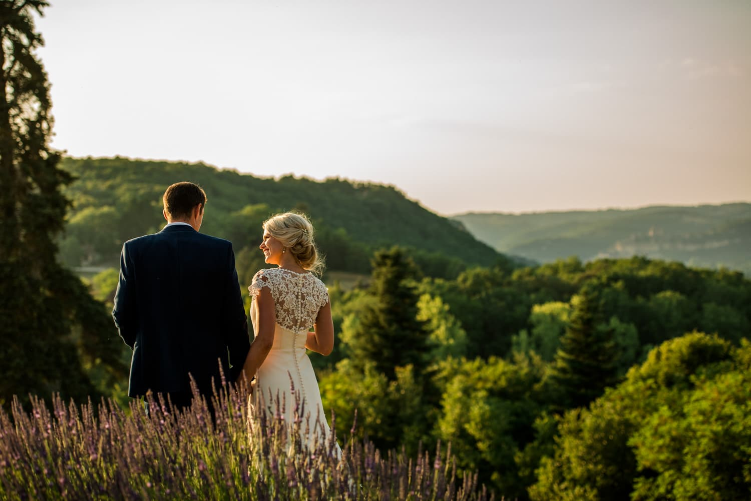 bride and groom golden hour portraits at Chateau de Lacoste