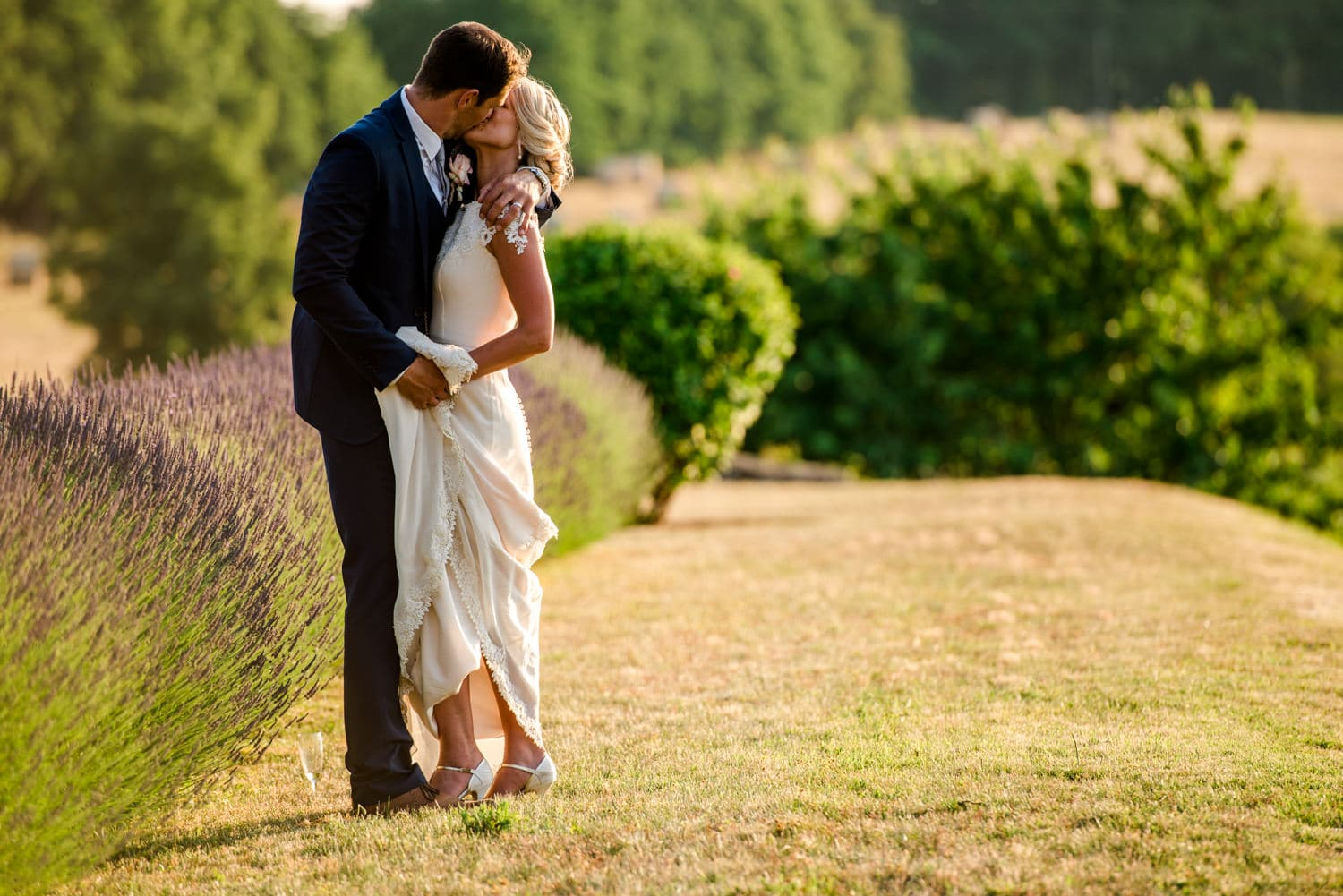 bride and groom golden hour portraits at Chateau de Lacoste wedding