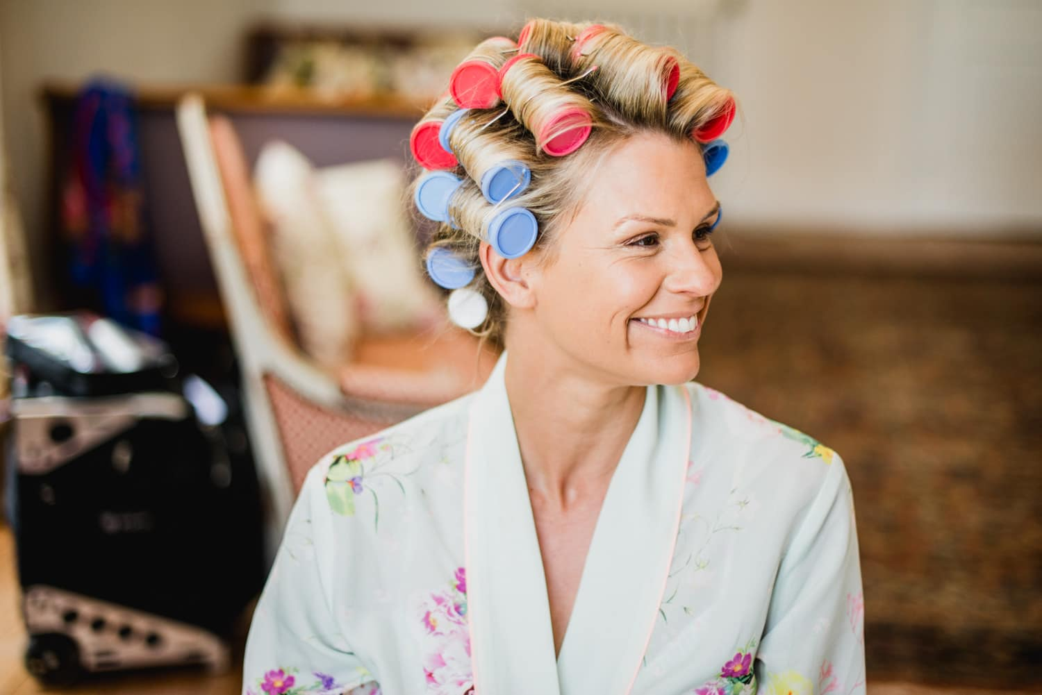 bride with curlers at Chateau de Lacoste wedding venue in France