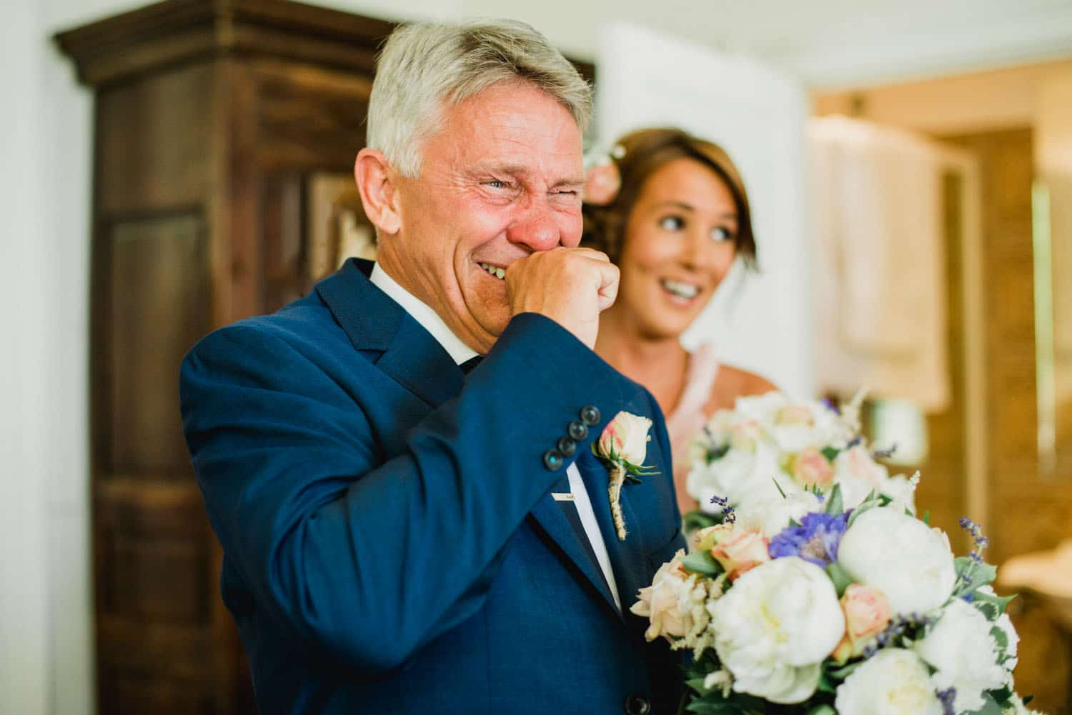 father of the bride emotional reaction to seeing his daughter at Chateau de Lacoste wedding