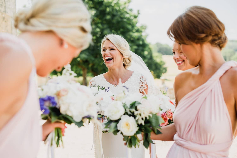 bride with bridesmaids at Chateau de Lacoste wedding