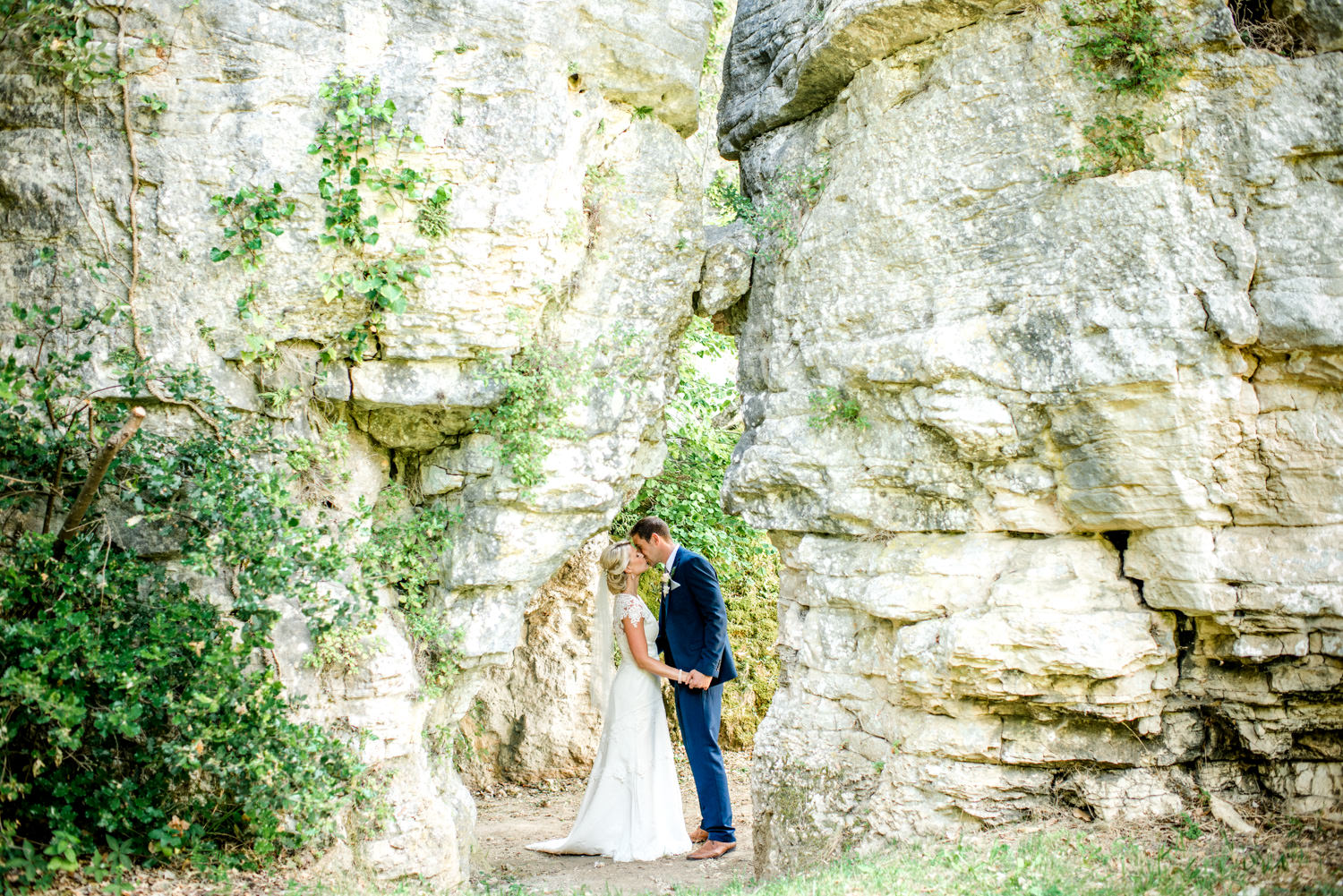 rockface at wedding ceremony in the chapel of Chateau de Lacoste wedding venue