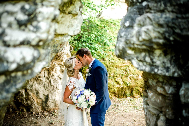 rockface at wedding ceremony in the chapel of Chateau de Lacoste wedding venue