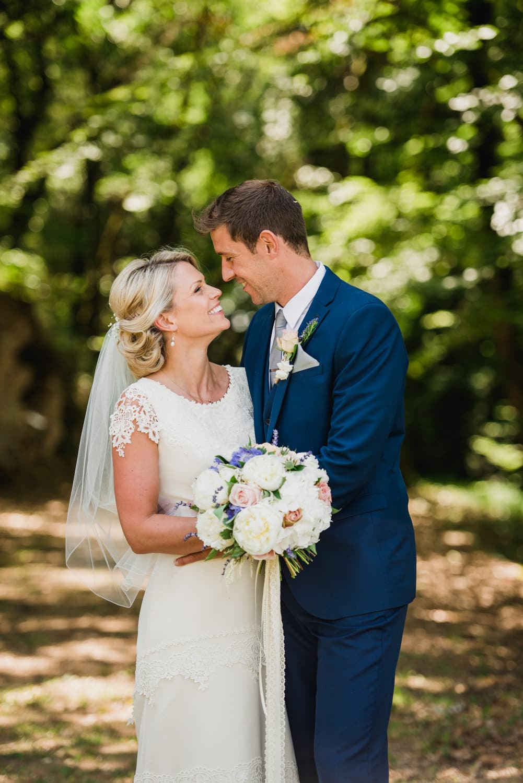 portrait of bride and groom at destination wedding france