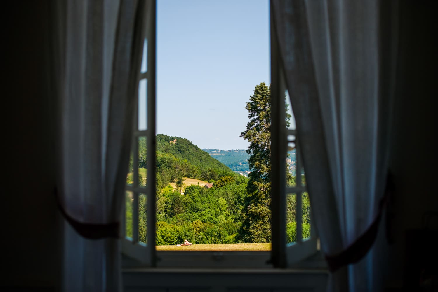view out window of Chateau de Lacoste wedding