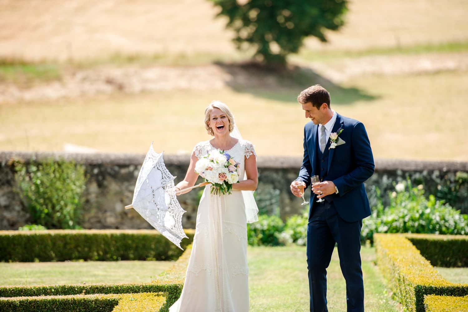 bride and groom at Chateau de Lacoste wedding