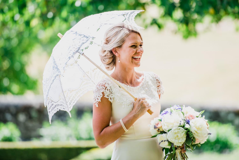 bride with parasol