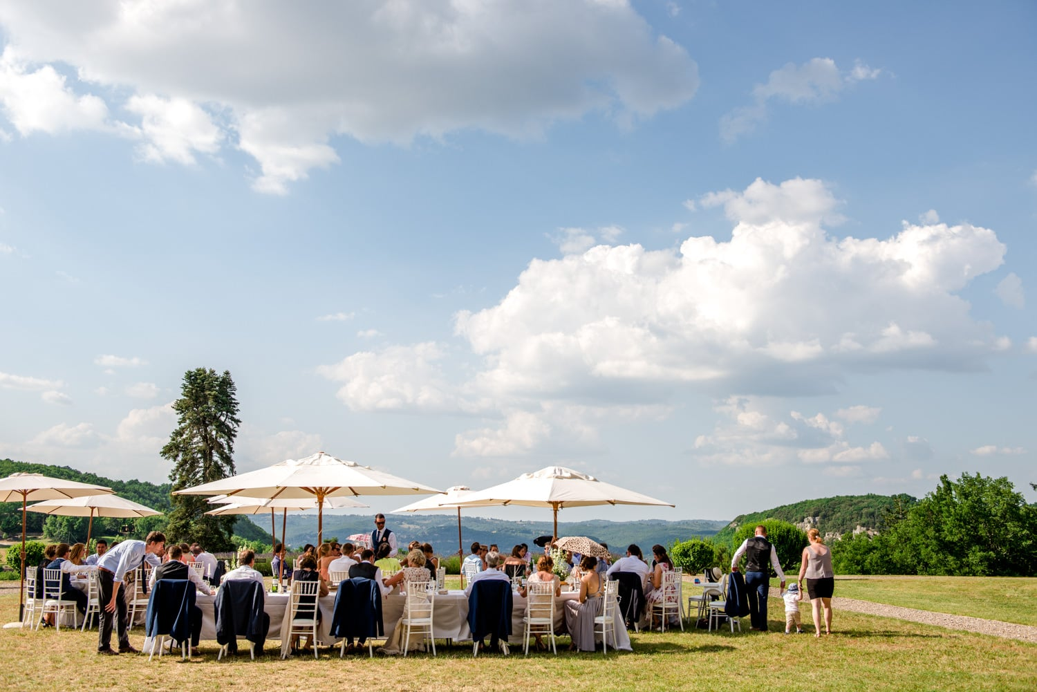 wedding breakfast in front of the chateau at de Lacoste