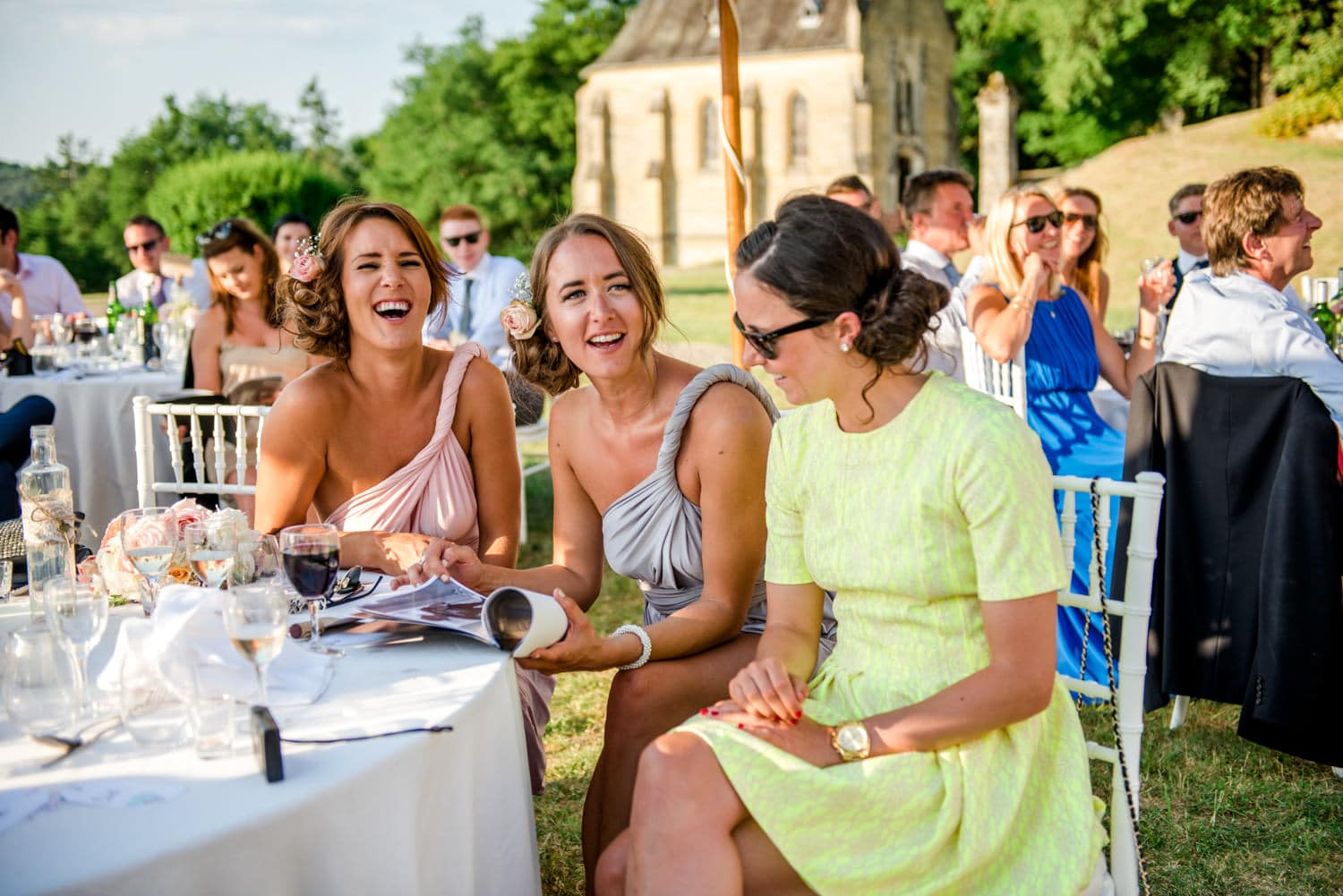wedding guests during wedding breakfast at Chateau de Lacoste