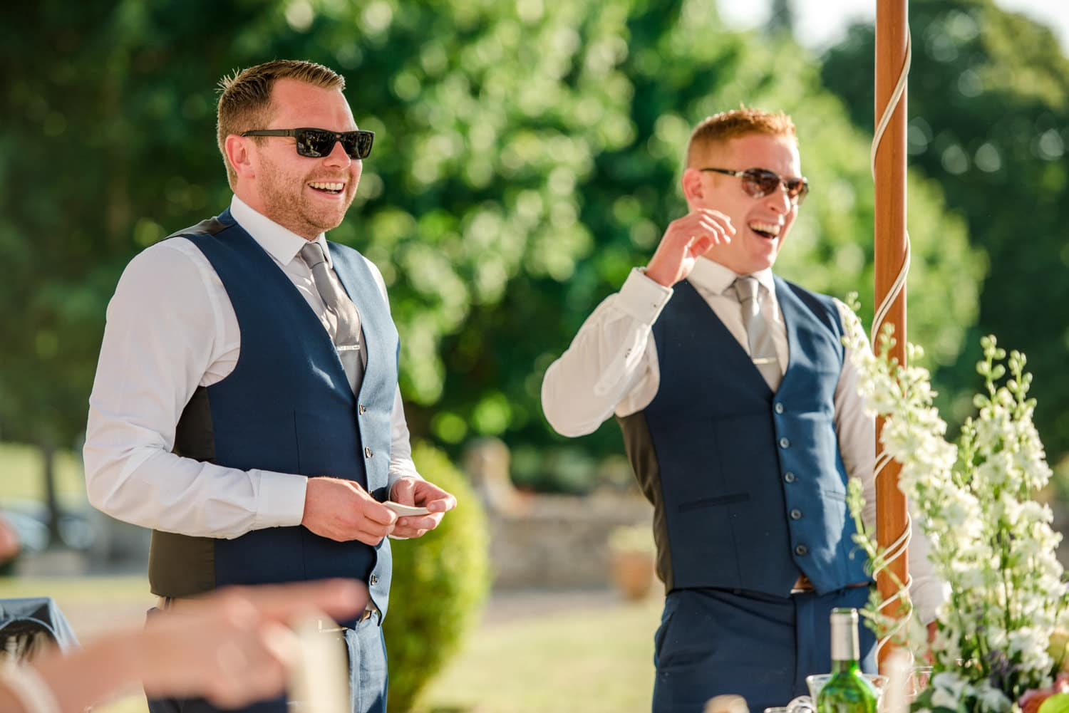 two best men at wedding speeches at Chateau de Lacoste wedding