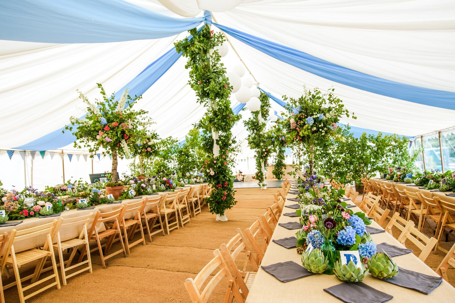 wedding marquee with Tattie Rose flowers