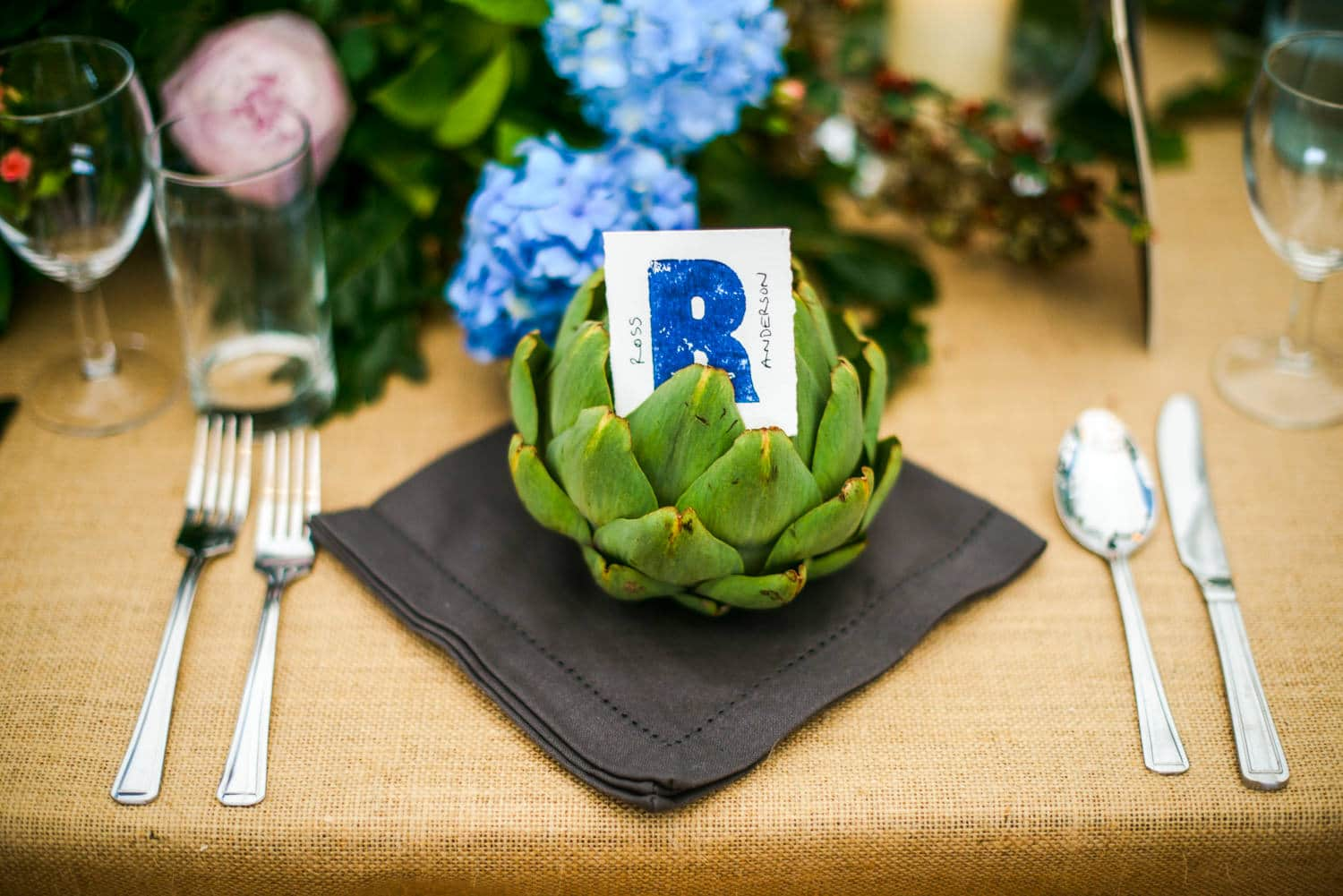 artichoke as wedding decor