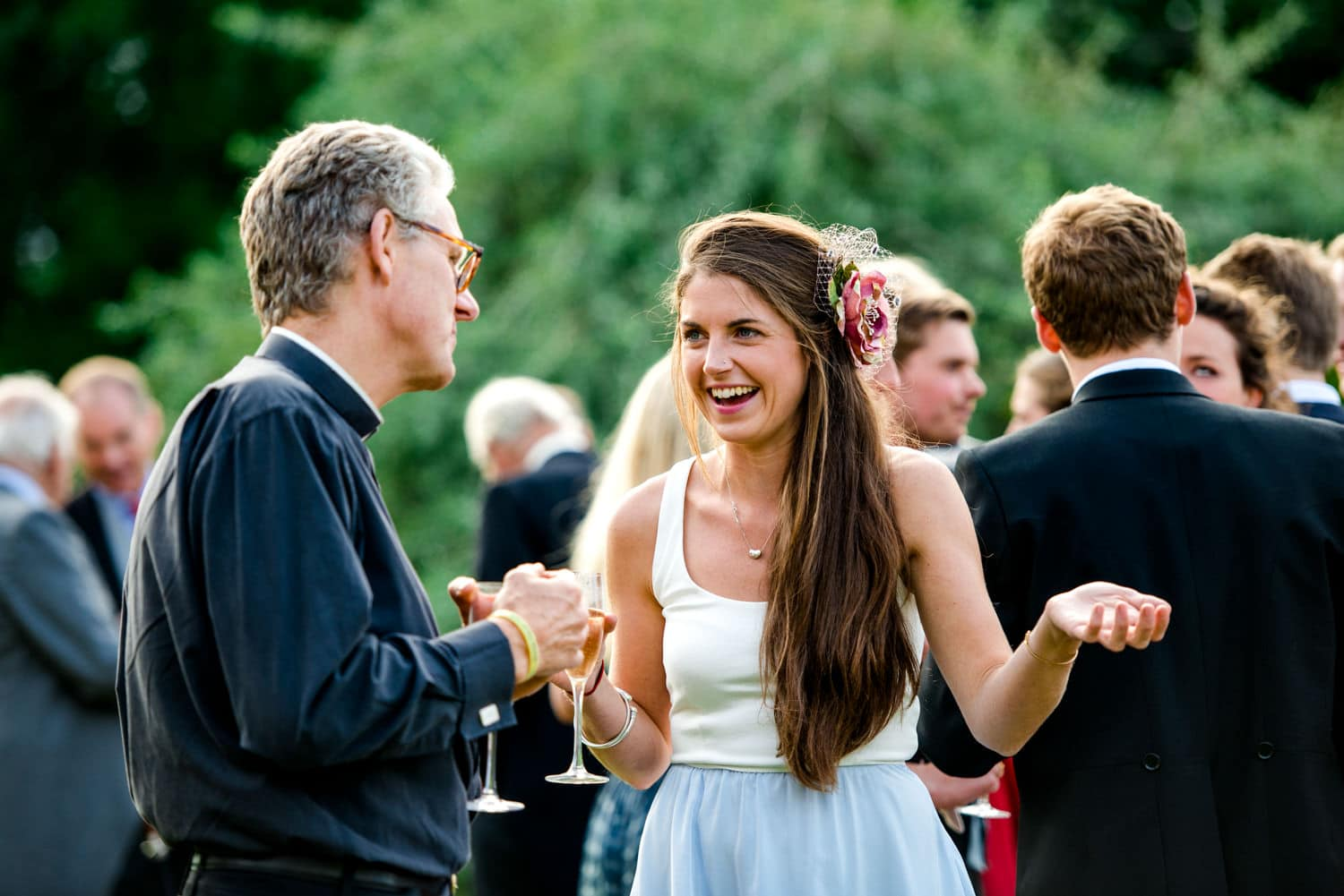 Dorset Country wedding guests enjoying reception
