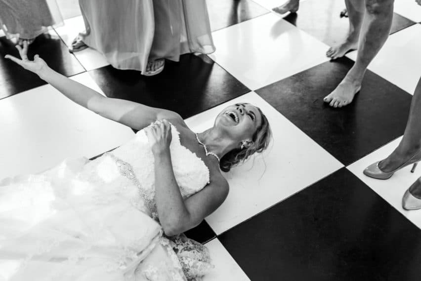 bride down low on dancefloor
