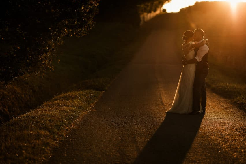 wedding couple sunset shot in France