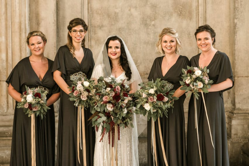 traditional wedding photo of bridesmaids