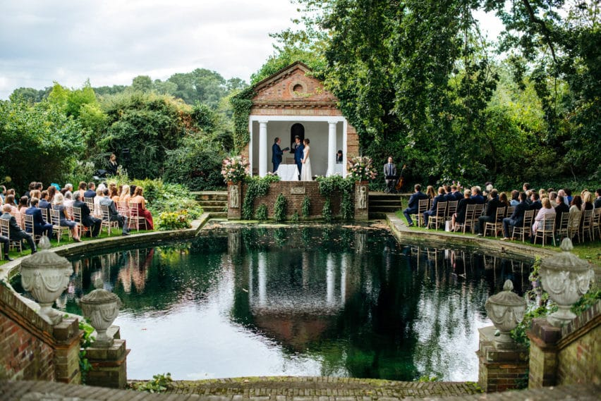 Micklefield Hall wedding ceremony by the pond