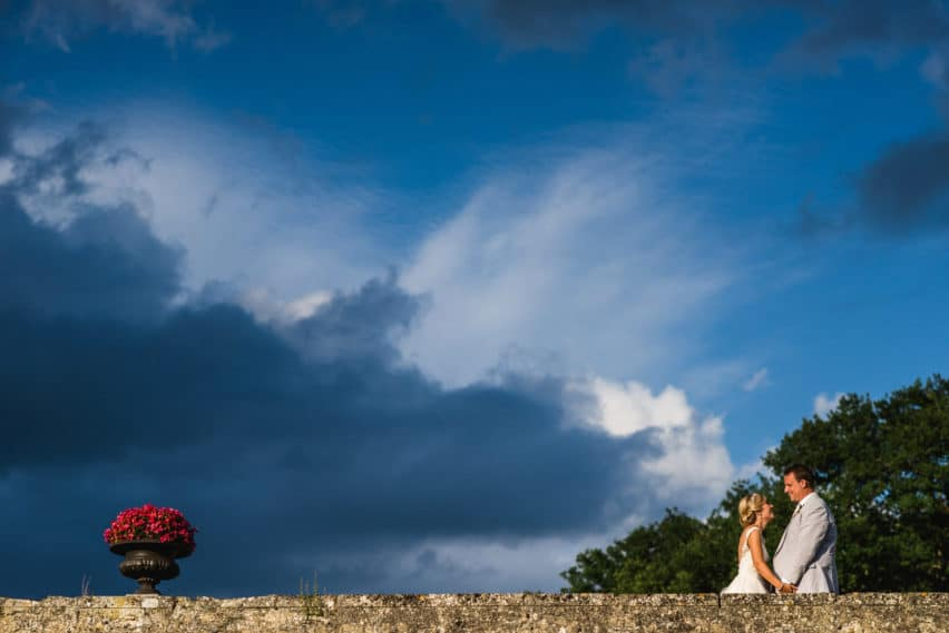 wedding portrait with blue skies
