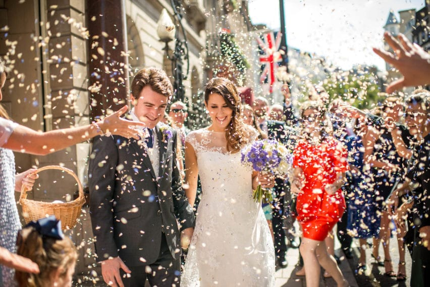 wedding confetti outside dartmouth House London