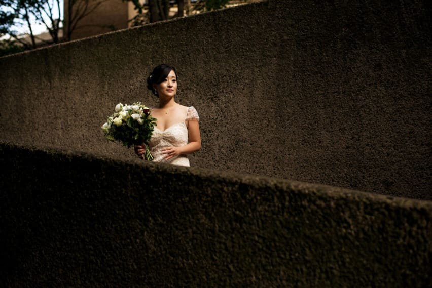 bride waiting in stair way