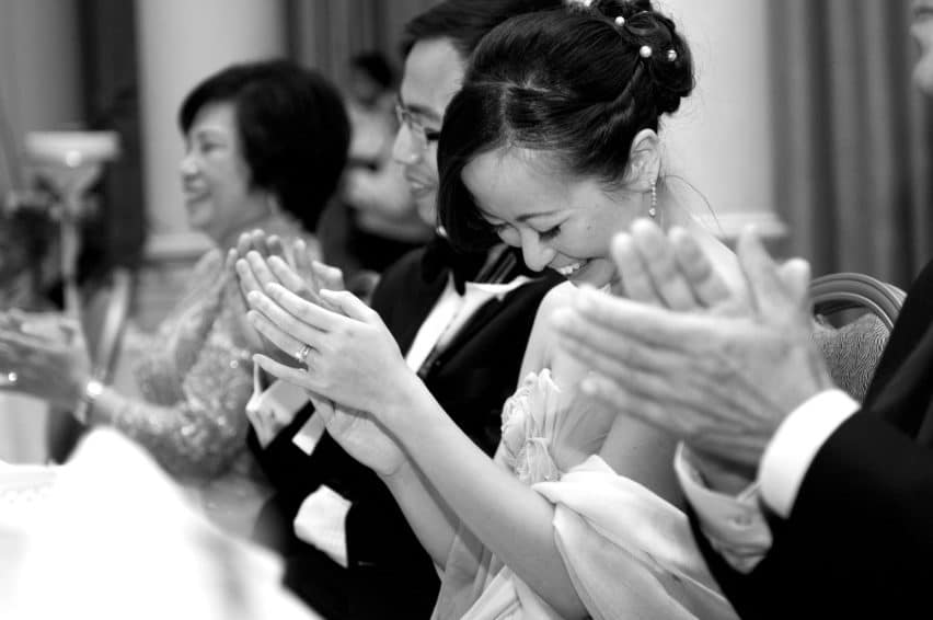 clapping during wedding speeches