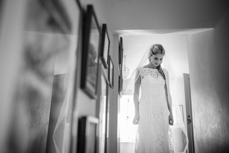 bride waiting in hall way