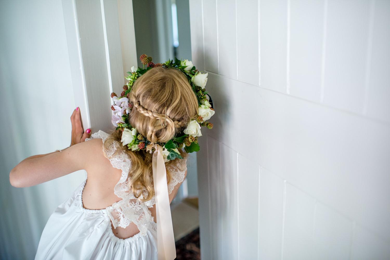 flower girl wearing a flower crown