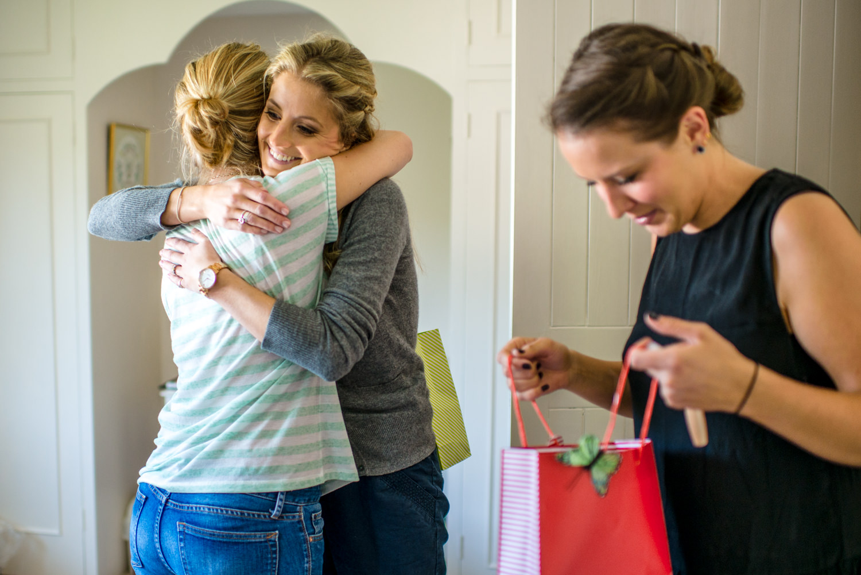 bridal preparations, hugging