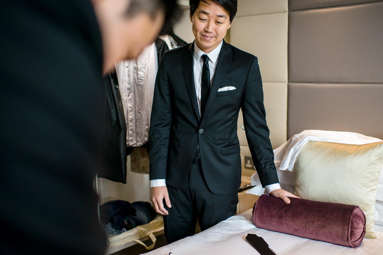 Groom preparations at Hotel 41 London