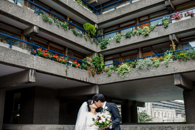 Barbican wedding, portraits of bride and groom