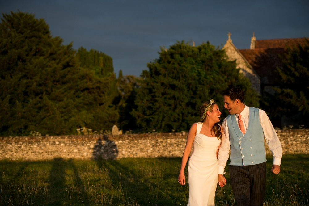 bride and groom portrait in golden hour