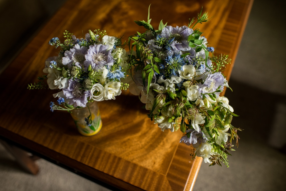 wedding bouquet on coffee table