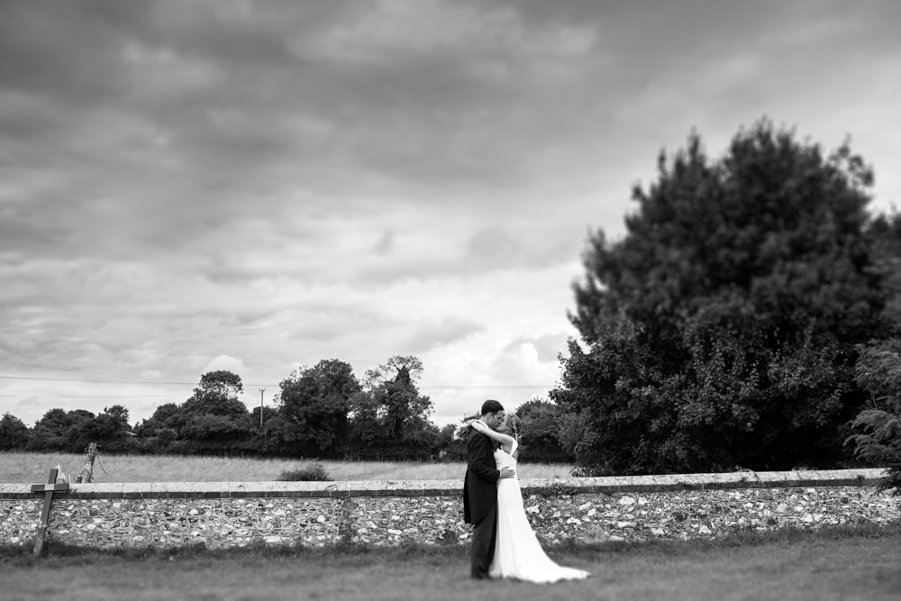 Bride and groom portrait with field and textured brick wall