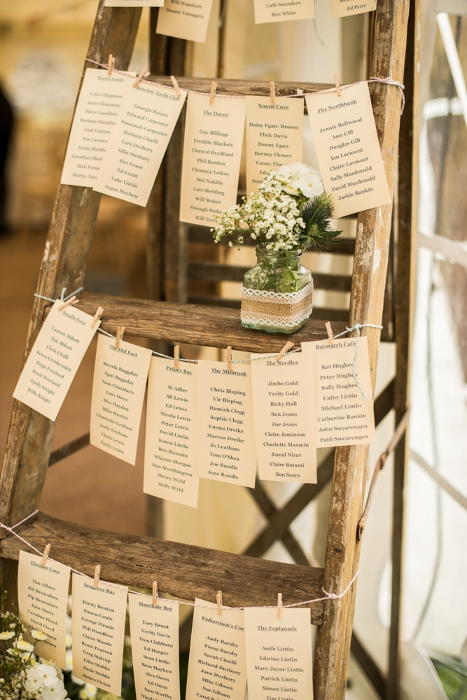 vintage ladder table plan for marquee