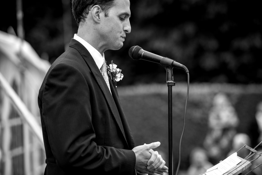 groom getting emotional during his speech