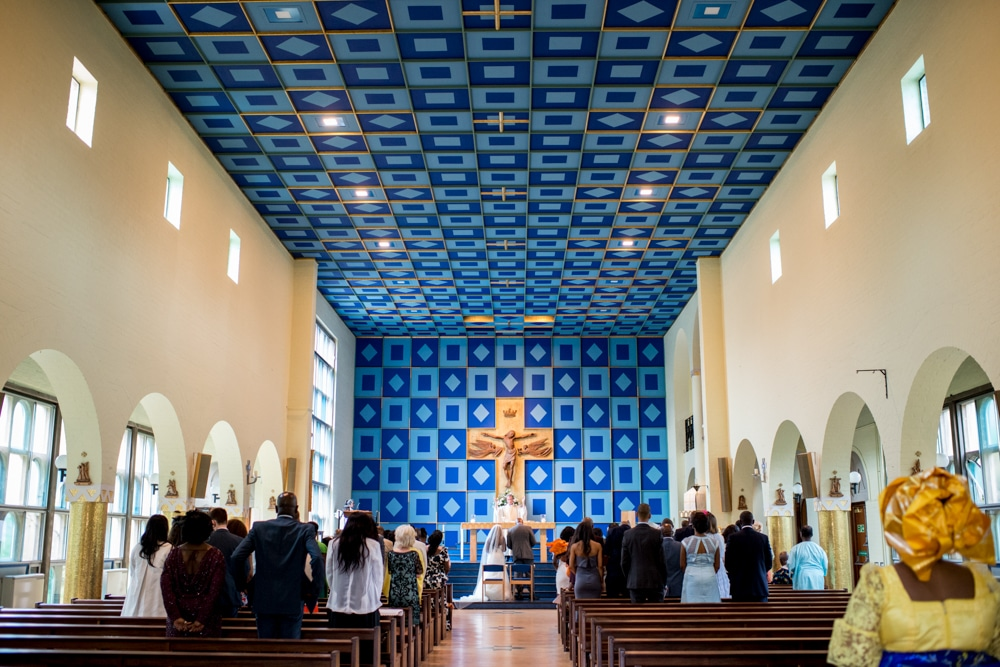 Church with blue patterned roof