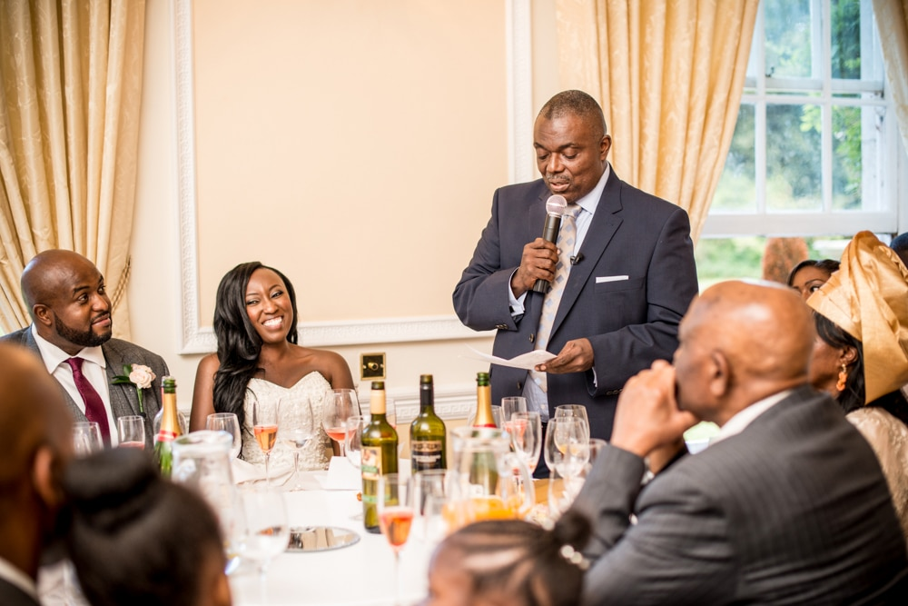 Father of the bride giving his speech at wedding speeches at High Elms Manor