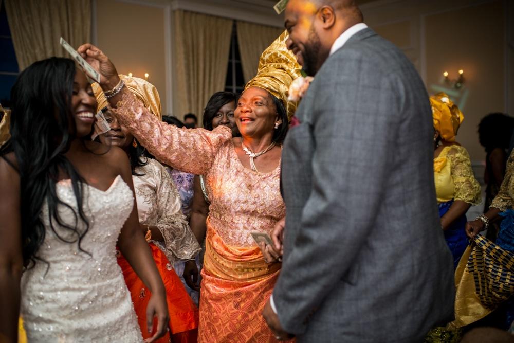 African wedding, guests dancing