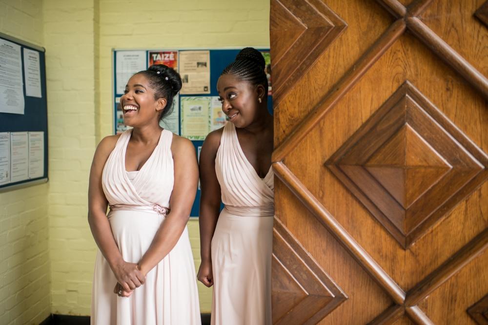 Bridesmaids at chirch