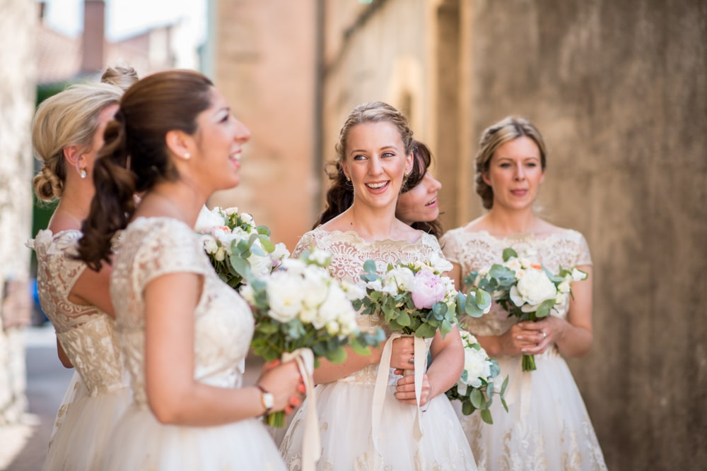 bridesmaids outside church in France