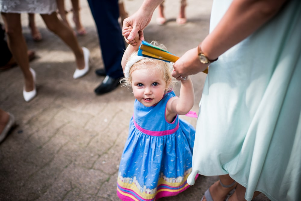 flower girl in blue dress