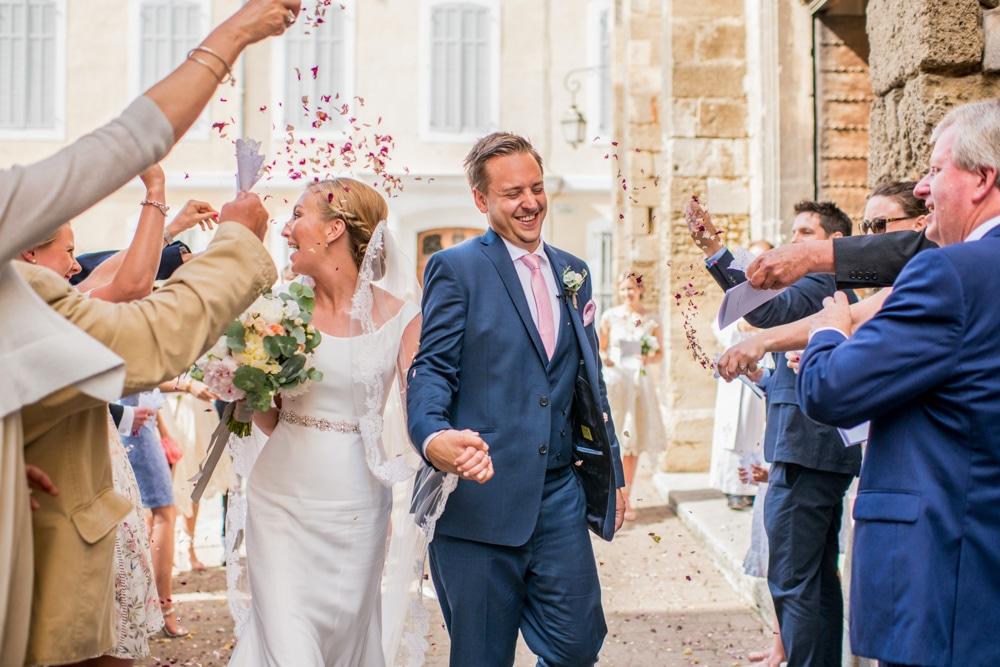 confetti moment outside church in France