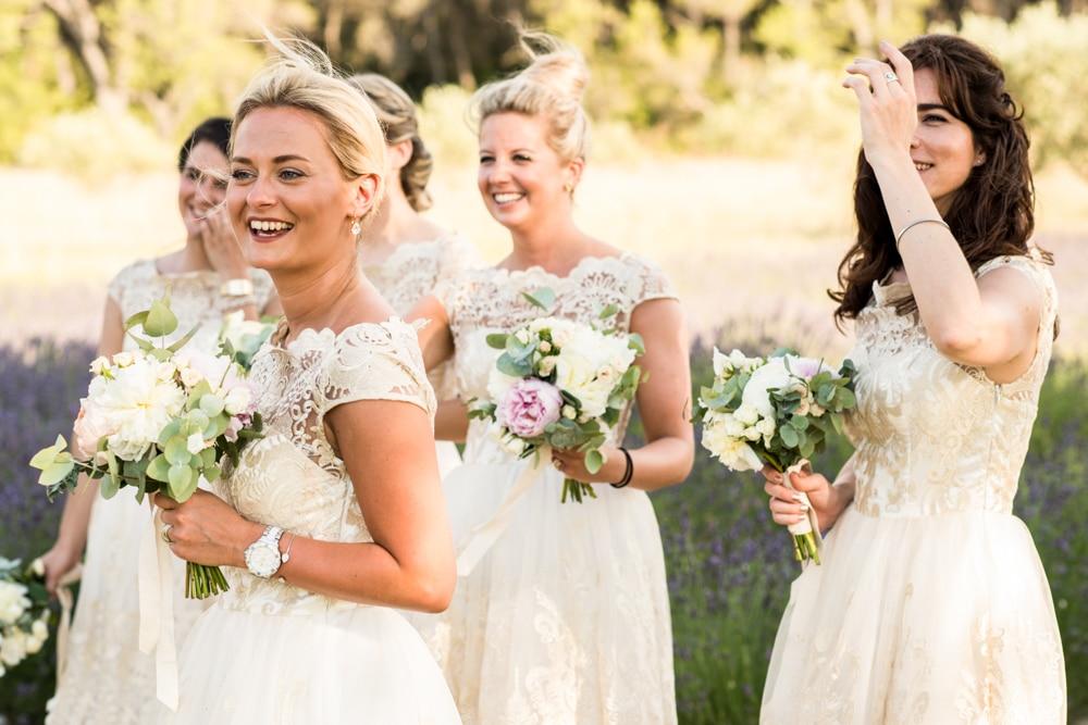 bridesmaids at Le Mas de La Rose wedding venue