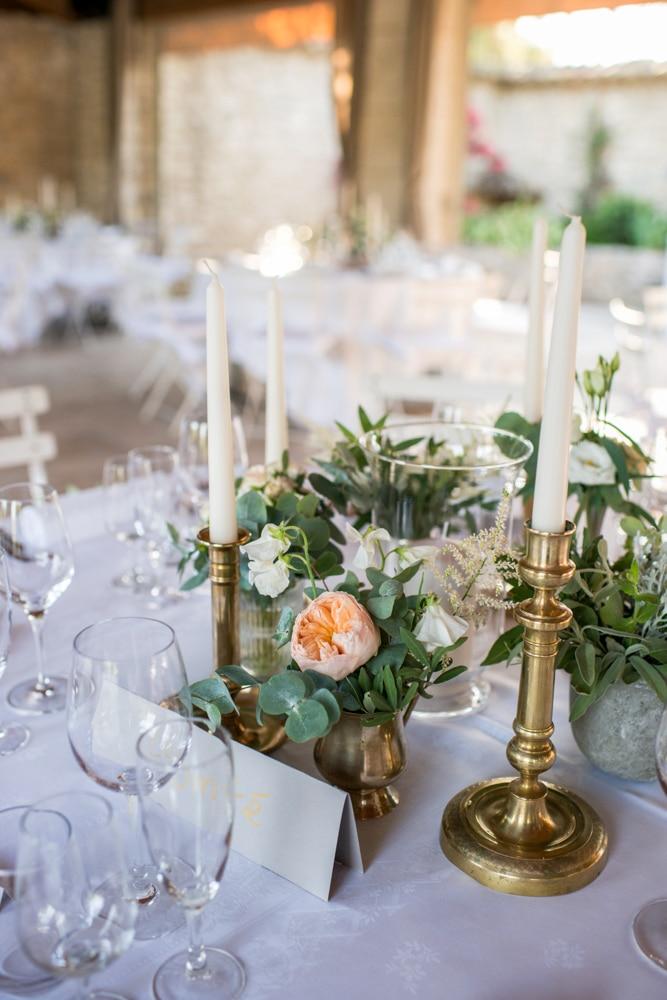 table decorations at Le Mas de La Rose France
