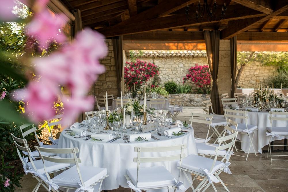 wedding breakfast area at Le Mas de La Rose france